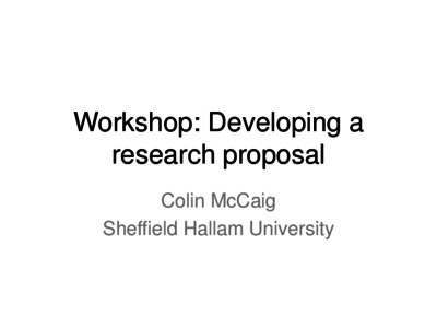 Developing A Research Proposal  Sheffield Hallam University