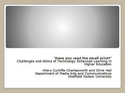 Have you read the small print?' Challenges and ethics of