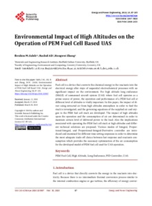 Environmental Impact of High Altitudes on the Operation of