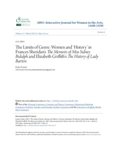 The Limits of Genre: Women and 'History' in Frances