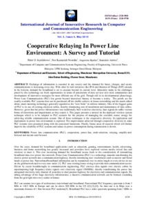 Cooperative Relaying In Power Line Environment: A Survey and